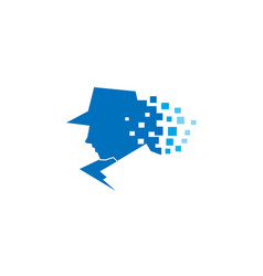 Detective pixel sheriff head logo vector