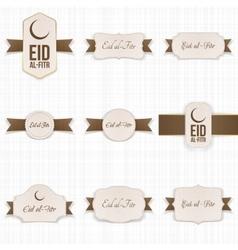Eid al-fitr realistic paper banners set vector