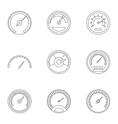Engine speedometer icons set outline style vector