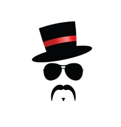 face with mustache with red hat vector image