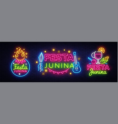 festa junina greeting card collection design vector image