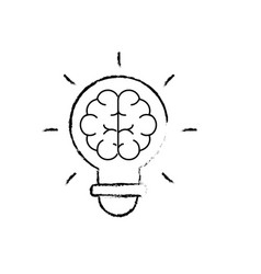 Figure bulb with brain inside to creative design vector
