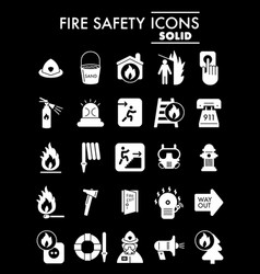 Fire safety glyph icon set emergency symbols vector