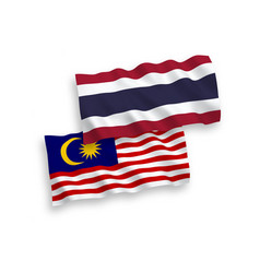 Flags thailand and malaysia on a white vector