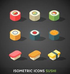 Flat Isometric Icons Sushi vector image