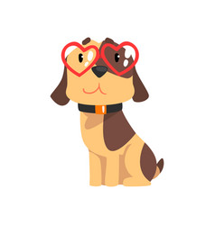 Funny jack russell terrier dog with red glasses in vector