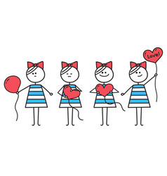 girl makes heart from round ballooncute character vector image