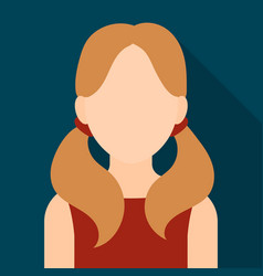 Girl with tails icon flat single avatarpeaople vector