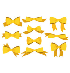 gold bow set cartoon yellow luxury design vector image