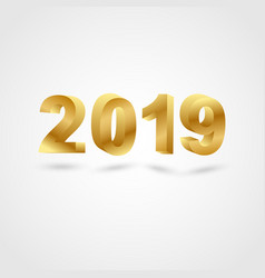 golden 2019 on gray background vector image