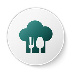 Green chef hat with fork and spoon icon isolated vector