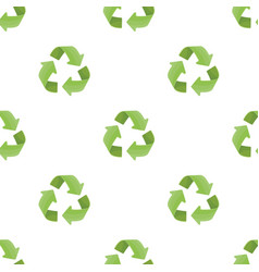Green recycling sign icon in cartoon style vector