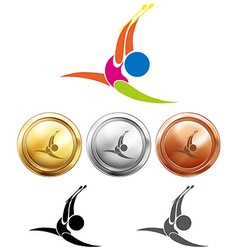 Gymnastics with sticks icon and medals vector