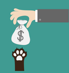 Hand golding money bag with dollar sign dog cat vector