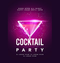 happy hour cocktail disco party poster vector image