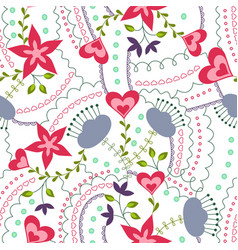hearts and flowers colorful on white vector image