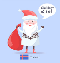 Iceland santa claus placard vector