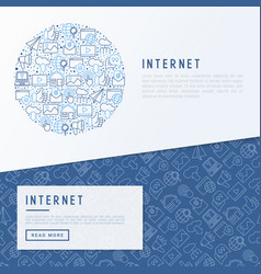 internet concept in circle with thin line icons vector image