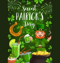 irish patricks day leprechaun drink green beer vector image