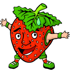 Isolated cartoon happy strawberry with funny face vector