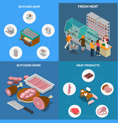 Isometric butchery design concept vector