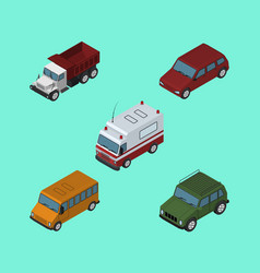 isometric car set of car first-aid freight and vector image