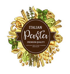 italian pasta icon with pastry food and seasoning vector image