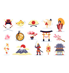 Japan symbols cartoon set vector