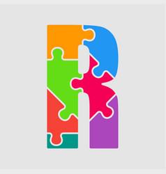 jigsaw font colour puzzle piece letter - r vector image