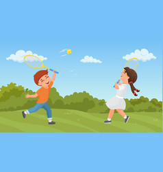 kids play tennis in summer park excited boy girl vector image