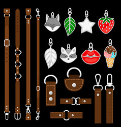Leather belts pendants colars belts vector