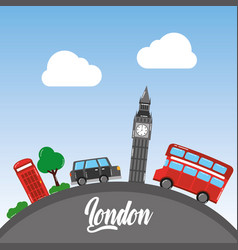 London big ben double decker bus taxi telephone vector