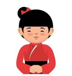 Lovely girl red kimono japanese icon graphic vector