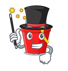 Magician beach bucket in string shape mascot vector