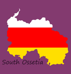 Map and national flag of south ossetiamap of vector