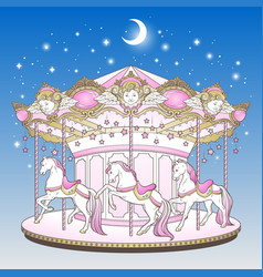 Merry go round with horses over blue night sky vector