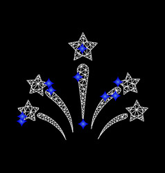 mesh salute star fireworks icon with blue vector image