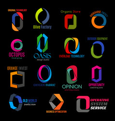 Modern corporate identity colorful letter o icons vector
