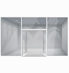 Open doors 3d shop empty interior front store vector