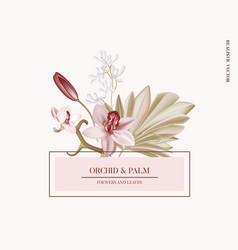 pampas grass pink orchid paper cut floral vector image
