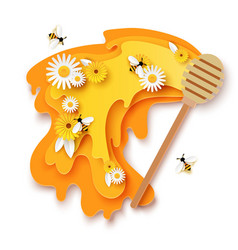 paper cut flowing honey wooden dipper cute bees vector image