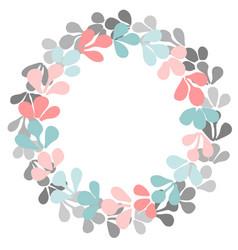 pastel pink blue and grey laurel wreath frame vector image