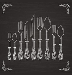 pictures of spoon fork and knife vector image