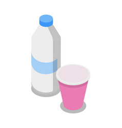 plastic bottle and cup isometric 3d icon vector image