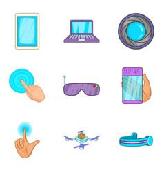 Pocket device icons set cartoon style vector