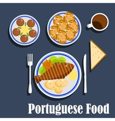 Portuguese national cuisine food and desserts vector image