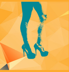 print legs of fashion girl on contemporary orange vector image