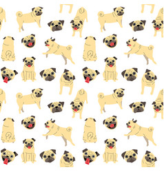 pug seamless pattern vector image