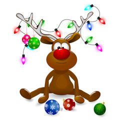 reindeer with christmas decorations vector image