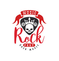 Rock music logo emblem for rock band design vector